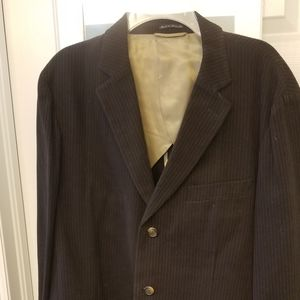 Mens 44R dark brown 3 button pinstripe blazer